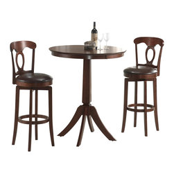 Hillsdale Furniture - Corsica 3 Pc Bistro Table Set in Brown Finish - For residential use. Includes table and 2 stools. Composed of hardwoods and climate controlled wood composites. Tapered and slightly flared table legs. 360��� Swivel barstool. Dark Brown faux leather seats. French Country design elements. Minor assembly required. Table: 36 in. Dia. x 42 in. H. Swivel Bar Stool with Vinyl seat: 18 in. D x 18 in. W x 44.75 in. H . Seat height: 30 in. HThe Corsica bistro set, in a brown finish. The bar height table compliments the barstools with a slender pedestal base, flared legs, and a round top with a generous apron.