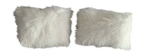 Curly Fur Imports - Tibetan / Mongolian Lamb Fur Pilows (set of 2) - Our world famous dreamy pillows made from 100% real soft and fluffy Tibetan lamb fur on one side of the pillows, backed with faux suede backing. All of our pillows are fully lined on both the front and back to provide stability and longevity. Using the zipper on the back of the pillow covering.You can fill the pillows with a stuffing material or pillow of your choice. They add a touch of softness, beauty, and warmth to any room. The fur is over 3.5 inches long. All colors are professionally dyed. Tibetan lamb fur is a luxurious fur that is incredibly soft, silky and curly.