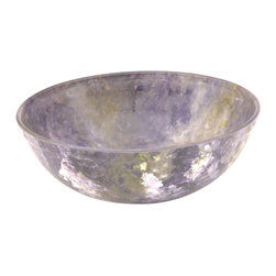 Hand-Crafted Glass Bowl, Small Wide, Lavender Field - These hand-painted bowls are in our Ocean Breeze line with colors of blues, sandy yellow, and a touch of white. Reminiscent of the ocean. Perfect for your serving needs.