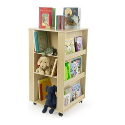 Children's Book Stand - Mobile Kid's Library Cart for Daycares - This children's book stand is a great storage solution for youth focused facilities. Kid's play areas can get messy quick. A mobile book stand like this Baltic birch wood display helps make organization a simple task and looks great too! The high quality kid's bookcase is ideal for libraries, daycares, and elementary classrooms since it is built to sustain years of daily wear and tear from little hands. Each book stand is set atop heavy duty casters, making the sturdy display furniture easy to transport from room to room! Displays2go has a large variety of kid's bookcases and business furniture to help organize your facility! Shop our website today for the most innovative display solutions!