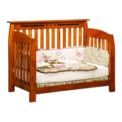 Chelsea Home Furniture - Chelsea Home Canterbury Crib with Toddler Rail in Medium Cherry - If children go through stages as they grow, so should their furniture. The Canterbury Convertible Crib Set is a solid wood 3-stage bed system that is constructed with quality and durability to transition any newborn into adulthood with elegance. The crib set, shown with Sap Cherry wood and Medium Cherry Stain, is built in classic Mission style, which originated in the early 19th century, highlighting simple vertical and horizontal lines and utilizing the natural wood grain detail. This CPSC 16 CFR 1219 and 1220 compliant convertible piece is complete with guard rail and 3-level mattress support, and simple transition instructions to keep your child resting easy and comfortable.