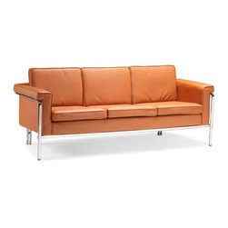 Terracotta Singular Sofa - This terracotta sofa by Zuo Modern has an chromed steel finish and is from their Singular collection. It's the perfect sofa to compliment any living room!