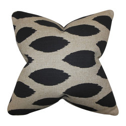 """The Pillow Collection - Juliaca Ikat Pillow Black 18"""" x 18"""" - Reinvent your decor style with this lovely accent pillow. This throw pillow features a unique ikat-inspired pattern in shades of black and denton gray. Adorn your sofa, bed or seat with this indoor pillow for extra comfort. Combine with solids and other patterns for a mix of elements. Made with a blend of 81% cotton and 19% rayon fabric. Hidden zipper closure for easy cover removal.  Knife edge finish on all four sides.  Reversible pillow with the same fabric on the back side.  Spot cleaning suggested."""