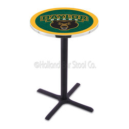Holland Bar Stool - Holland Bar Stool L211 - Black Wrinkle Baylor Pub Table - L211 - Black Wrinkle Baylor Pub Table belongs to College Collection by Holland Bar Stool Made for the ultimate sports fan, impress your buddies with this knockout from Holland Bar Stool. This L211 Baylor table with cross base provides a commercial quality piece to for your Man Cave. You can't find a higher quality logo table on the market. The plating grade steel used to build the frame ensures it will withstand the abuse of the rowdiest of friends for years to come. The structure is powder-coated black wrinkle to ensure a rich, sleek, long lasting finish. If you're finishing your bar or game room, do it right with a table from Holland Bar Stool. Pub Table (1)
