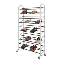 "Whitmor Shoe Tower, Chrome - This shoe organizer on wheels is a dream come true for a shoe ""collector"" like me. I can see my dream closet with a couple of these filled with my shoes organized by type, season, color. And the fact that I can roll them around is such a bonus."