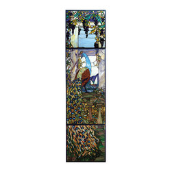 """Meyda Tiffany - 21""""W X 80""""H Tiffany Peacock Wisteria Stained Glass Window - Create a custom window from authentic stained art glass and a variety of media, hand crafted in the colors, designs and sizes of your choice. Customized for a broad range of decor and applications, call for details or see us on the internet at Meyda.com and click on Custom Capabilities."""