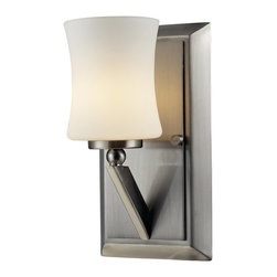 Z-Lite - Z-Lite Elite Bathroom Light X-NB-V1-906 - This one light vanity uses an exquisitely designed, angled brushed nickel arm to hold a uniquely shaped, warm glowing matte opal shade.