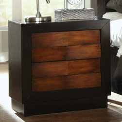 Coaster - Rolwing Nightstand in Reddish Oak/Espresso Finish - The Rolwing bedroom collection features exquisite casual design features. Romantic ambient lighting creates a stunning display, creating a relaxing mood that you are sure to love. Matching case pieces feature knob-free front drawers and full extension glides.