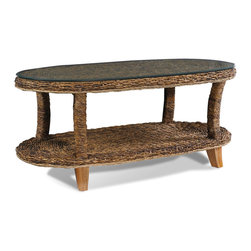 Wicker Paradise - Seagrass Coffee Table-St. Kitts Collection - The St. Kitts seagrass coffee table has style and utility. It has a generous oval shape with an additional shelf for storage and a glass top.