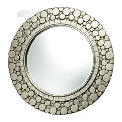 "Sterling Industries - Sterling Industries Monterey Contemporary Round Mirror X-4691MD - Small circles of varied sizes have been arranged to create a clean curvilinear frame for this Sterling Industries round mirror. From the Monterey Collection, this contemporary mirror also features a Silver Leaf finish, which allows it to effortlessly compliment any color scheme. Mirror size: 23"" W x 23"" H"