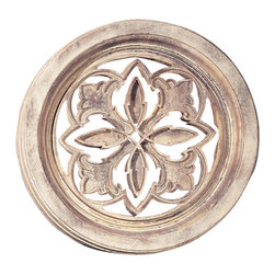 "Factory Direct Wall Decor - Small Round Palm Grille - The Small Round Palm Grille is a scroll designed wall decor item leaf patterns. This item may be used as indoor home decor or outdoor garden decor. The dimensions of the piece are 22""W x 22""H x 2"" in Depth, and approximately weighs 10 lbs."