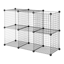 None - Black Steel Wire Storage Cubes (Set of 6) - Create your own storage solution for your office,dorm,garage or utility room with these handy wire storage cubes. These black cubes are sold in a set of six and can be stacked in a variety of ways with their high-quality plastic connectors.