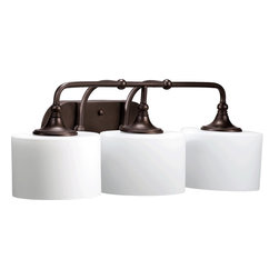 Quorum Lighting - Quorum Lighting Rockwood Transitional Bathroom / Vanity Light X-68-3-0905 - From the Rockwood Collection, this Quorum Lighting bathroom light is designed with vintage traditional styling. The knobs and curves of the frame are complimented by the dark look of an Oiled Bronze finish, which adds interest when paired with the contrasting look of the satin opal glass shades.