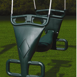 Gorilla Playsets - Glider Swing in Green - Twice the fun of standard swings, two children can play at once. A great addition to any Gorilla Playset! Features: -Tandem swing with maximum of 105 lbs each -Includes molded plastic parts and all hardware -Can be used with any wooden play set -Comes with 5' nylon ropes -**Mounting brackets not included**