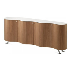 Domitalia Furniture - Palio Sideboard in Walnut - This unique Made-in-Italy sideboard with award winning design is a must-have for those who loves top quality furniture with designer appearance. Its curved oak veneered frame is accented with warm walnut finish and tempered glass top in white.
