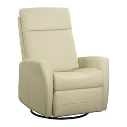 Emerald Home Furnishings - Garrett Leather Swivel Gliding Recliner, Cream Leather - The Garrett Leather Swivel Gliding Recliner, by Emerald Home Furnishings, is now on sale from Savvy Home on Houzz!