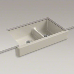 """KOHLER - KOHLER Whitehaven(R)Self-Trimming(R) Smart Divide(R) 35-1/2"""" x 21-9/16"""" x 9-5/8"""" - The Whitehaven apron-front kitchen sink features a streamlined and versatile farmhouse style to complement any decor. Perfect for remodeling projects, it has a shortened apron that allows for installation on most new or existing 36-inch standard cabinetry"""
