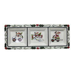 Cosmos - Waving Santa Claus Driving Different Vehicles 3 Section Festive Plate - This gorgeous Waving Santa Claus Driving Different Vehicles 3 Section Festive Plate has the finest details and highest quality you will find anywhere! Waving Santa Claus Driving Different Vehicles 3 Section Festive Plate is truly remarkable.