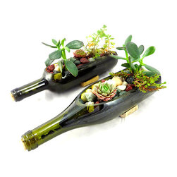 Rehabulous - Wine Bottle Garden Planter - This charmingly clever indoor planter is great for drought-resistant cacti and other succulents. Corks are attached to the sides to ensure stability.   Plants not included 12'' W x 3'' H x 3'' D Glas Made in the USA