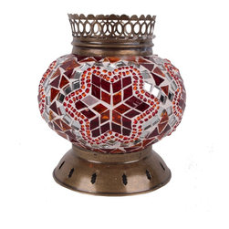 Art-Win Lighting CH11111 Handmade Mosaic Candle Holder, Red - Handmade in Istanbul, Turkey. Hand-crafted item is produced with glass-on-glass technique. Tradition of centuries is now available for you. Fine handmade mosaic lamps that require years of experience and specialized craftsmanship are carefully manufactured by Art-Win Lighting.