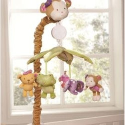 Kidsline - kidsline Blossom Tails Musical Mobile - This musical mobile will keep your child enchanted. It coordinates with the kidsline Blossom Tails Crib Bedding Collection and features a monkey head sleeve holding a leaf covered canopy from which an adorable monkey, elephant, tiger and frog hang.