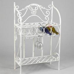 AA Importing - Metal Wine Rack with Lattice Shelf and Stemwa - Keep your favorite wines and glasses close at hand with this decorative metal wine rack, designed to hold up to five bottles or wine as well as assorted stemware. The rustic rack is made of metal with scrolled detailing and a lattice shelf and is available in your choice of finish options. Holds up to 5 bottles. 3 Racks for hanging glasses. Shelf below. Pictured in Antique White. 21.5 in. L x 10.5 in. W x 34.5 in. H