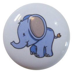 Carolina Hardware and Decor, LLC - Baby Elephant with Big Ears Ceramic Knob - 1 1/2 inch white ceramic knob with one inch mounting hardware included.  Great as a cabinet, drawer, or furniture knob.  Adds a nice finishing touch to any room!