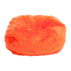 Great Deal Furniture - Abbey Neon Fur Kids Bean Bag, Neon Orange - The Abbey bean bag provides you with a comfortable seat for any room. The puncture-proof cover is durable for anyone with a combination of long-lasting polystyrene beans as well as soft and supple foam.