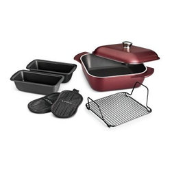 Tramontina Limited Editions LYON 7 Pc Multi-Cooking System - Garnet - Get inspired and get cooking with the Tramontina Limited Editions LYON 7 Pc Multi-Cooking System – Garnet. Made with forged aluminum technology, this set includes a square roaster, two loaf pans, bake rack, and two pot holders. All you need are a few tasty recipes to make a meal that will have them running for the table. A ceramic, nonstick surface is easy to clean and use. Dishwasher-friendly, oven-safe up to 550 degrees F, and designed for use on any stovetop surface, including glass, gas, and electric.About Tramontina USAOriginally founded in Brazil, the versatile Tramontina has been a leading manufacturer and distributer to national and international retailers for over a century. In 1986, Tramontina USA was founded in Sugar Land, TX, where it has been proudly carrying the company banner in the United States. The Tramontina group operates 11 modern factories and 12 distributing centers worldwide. A leading manufacturer of household goods, ranging from cutlery to flatware and kitchen utensils, the group effectively invests in product research, development, and innovation to provide superior products and unmatched customer service.