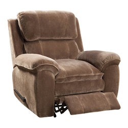 Homelegance - Homelegance Reilly Glider Reclining Chair in Brown Microfiber - Complimenting myriad home decors, the Reilly collection will be a welcome addition to your casual living space. Richly textured plush microfiber covers the comfortable motion seating group. Track framing is softened with overstuffed armrests and the manual pull mechanisms gently glide you into a reclined position for maximum comfort. The collection is offered in chocolate or Brown microfiber.