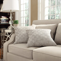 Inspire Q - INSPIRE Q Clybourn 18-inch Toss Grey Link Accent Pillow (Set of 2) - This lovely Kayla throw pillow set features a lovely print pattern that will be a splendid accent to your home decor. Clean knife edge seams complete the design of these wonderful decorative pillows.