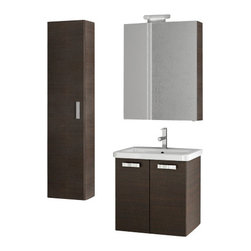 ACF - 22 Inch Wenge Bathroom Vanity Set - Match this wenge vanity set with your contemporary master bathroom.