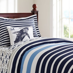 St. Tropez Striped Duvet Cover - The wide stripes on this comforter make a graphic statement. I love the navy, bright blue and gray combo too.