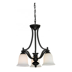 Three Light Matte Black Matte Opal Glass Down Chandelier - This three light chandelier, with a matte black finish and matte opal shading, hangs in a bell-like arrangement to accent the loveliness of your home.