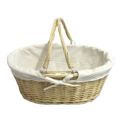 Oval Willow Basket with Double Drop Down Handles - White Fabrice - Add some natural style to the home with this Willow Baskets with Fabric Lining. These beautiful baskets are made of wicker, basket is lined with a cloth material.