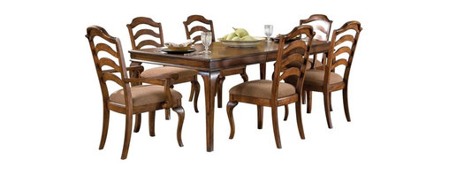 Standard Furniture - Standard Furniture Crossroad 7-Piece Leg Dining Room Set in Mid-Tone Brown - Crossroads captures the charm and elegance of Country French styling in a new, cleanly tailored interpretation.
