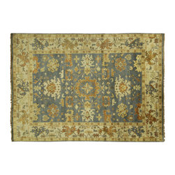 Manhattan Rugs - New Geometric Oushak Glaucous Blue 10' X 14' Hand Knotted Wool Turkish Rug H5703 - Oushak rugs originated in the small town of Oushak in west central Anatolia, roughly 100 miles south of the city of Istanbul in Turkey. Oushak has produced some of the most decorative Persian influenced rugs of all times. Oushak has been a production center of Turkish rugs since the 15th century. In the late 15th century the 'design revolution' took place. Before, producing carpets was part of the nomad culture, meeting people's daily needs, but for the first time the works of designing and weaving rugs were split in two. These Turkish rugs began to be produced commercially. From the 16th up to the 18th century the most famous manufacturers of ottoman times worked in Oushak. A special heirloom wash produces the subtle color variations that give rugs their distinctive antique look.