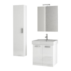 ACF - 23 Inch Glossy White Bathroom Vanity Set - Set Includes: Vanity Cabinet (2 Doors), high-end fitted ceramic sink, wall mounted vanity mirror, tall storage cabinet.