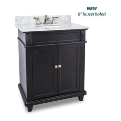 Hardware Resources - Douglas Black Vanity with Preassembled Top and Bowl by Bath - This 30 inch wide MDF vanity features a sleek black finish  clean lines and tapered feet to give a modern feel.  A perfect alternative to a pedestal sinks.  A large cabinet provides storage.  This vanity has a 2CM white marble top preassembled with an H8809WH (15 x 12) bowl  cut for 8 faucet spread  and corresponding 2CM x 4 tall backsplash.
