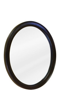 "Hardware Resources - Lyn Design Bathroom Mirror - Espresso Demi-lune Mirror by Lyn Design 22"" x 27-1/2"" espresso oval mirror with beveled glass Corresponds with VAN056 and VAN056-T -"