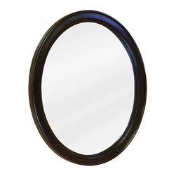 "Hardware Resources - Lyn Design Bathroom Mirror - Espresso Demi-lune Mirror by Lyn Design 22"" x 27-1/2"" espresso oval mirror with beveled glass. Corresponds with VAN056 and VAN056-T"