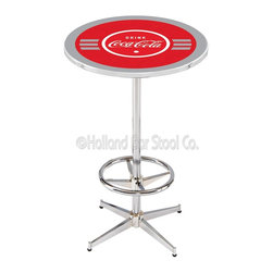 Holland Bar Stool - Holland Bar Stool L216 - 42 Inch Chrome Coca-Cola Pub Table W/ Silver Accents - L216 - 42 Inch Chrome Coca-Cola Pub Table W/ Silver Accents  belongs to Coca-Cola Collection by Holland Bar Stool Made for the ultimate Coca-Cola enthusiast, impress your buddies with this knockout from Holland Bar Stool. This L216 Coca-Cola table with retro inspried base provides a quality piece to for your Man Cave. You can't find a higher quality logo table on the market. The plating grade steel used to build the frame ensures it will withstand the abuse of the rowdiest of friends for years to come. The structure is triple chrome plated to ensure a rich, sleek, long lasting finish. If you're finishing your bar or game room, do it right with a table from Holland Bar Stool.  Pub Table (1)