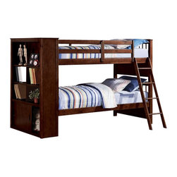 """Acme - Yaffa Espresso Finish Wood Twin Over Twin Bunk Bed Set with Bookcase Foot Board - Yaffa espresso finish wood twin over twin bunk bed set with bookcase foot board built in. This set features a Twin bed over twin size bed with a bookcase foot board for additional built in storage. Measures 90"""" x 43"""" x 59""""H. Some assembly required."""