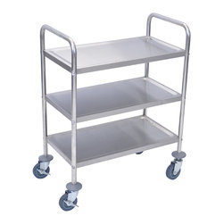 "Luxor - Luxor Stainless Steel Cart - L100S3 - This all stainless steel three shelf cart has a clearance of 12"" between shelves. Ideal for light weight industrial, healthcare, food service, or restaurant applications. Complete with 4"" casters, two with locking brake."