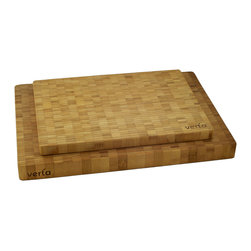 "Verta - Premium Bamboo End-Grain Chopping Blocks, Buy One Get One Free - Limited time offer - BUY ONE, GET ONE FREE! Practice safe food prep with two premium end-grain butcher blocks made of 100% FSC-certified, eco-friendly and sustainable Moso bamboo; End-grain chopping blocks are easier on knife edges; Super easy to clean, just use some warm soapy water and wipe clean; includes one(1) large board measuring 20"" W x 14"" L x 1.5"" H and one(1) medium board measuring 16"" W x 12"" L x 1"" H"