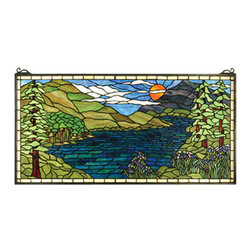 Meyda Tiffany - Meyda Tiffany 65497 Tiffany Rectangular Stained Glass Window Sunset Mea - *Instantly transport yourself from your home to the heart of the Adirondacks when viewing this stained glass window from Meyda Tiffany