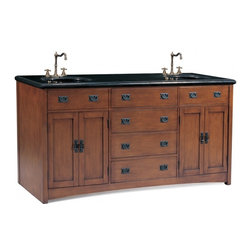 "Legion Furniture - 72 Inch Modern Double Sink Bathroom Vanity - This mission style bathroom vanity has an antique brown finish and is hand crafted with clean lines. The solid Black Granite top is pre-drilled for standard three hole faucets. Features four drawers and four doors for storage.  Dimensions: 72""W X 23.5""D X 37""H (Tolerance: +/- 1/4""); Counter Top: Black Granite; Finish: Antique Brown; Features: 4 Doors,4 Drawers; Hardware: Black; Sink(s): 15.5"" X 12"" Under Mount Black Ceramic; Faucet: Pre-Drilled for Standard Three Hole 8"" Center (Not Included); Assembly: Fully Assembled; Large cut out in back for plumbing; Included: Cabinet, Sink; Not Included: Faucet, Backsplash."