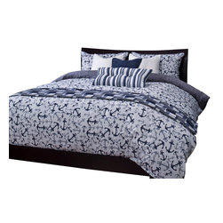 SIS Covers - SIS Covers Anchor's Away Blue Duvet Set - 5 Piece Twin Duvet Set - Anchors in shades of blues on a white background