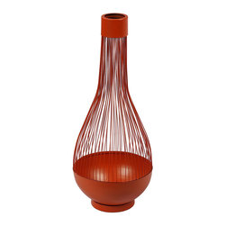 None - Orange Wire-frame Mordern Vase - This modern accent piece adds an original touch to home decor. It is crafted from metal and finished in a sunset orange tone.