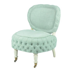 Inova Team -Contemporary Wood And Polyester Creme de Menthe Chair - With cushy tufting and a generous seat, this throne-like chair has chichi charm. The trendy mint-green color ups the girlish feel for a sweet bit of contrast against the wheeled front legs.